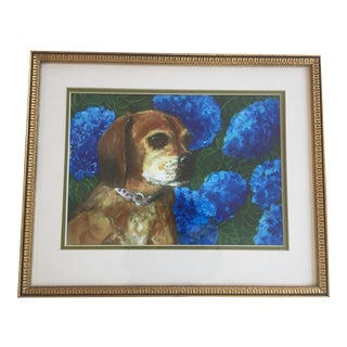 Puggle Dog Print With Hydrangea by Judy Henn