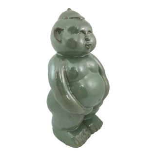 Green Glazed Terra Cotta Fat Baby Sculpture