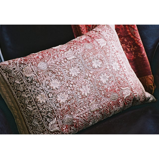 Luxury Embroidered Silk Decorative Pillow Chairish