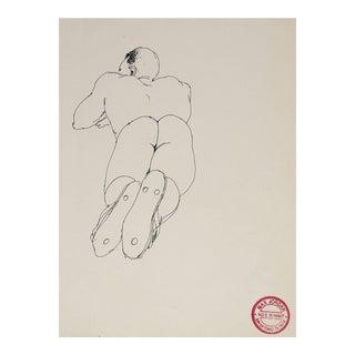Pen & Ink Male Nude Study by Max Jordan
