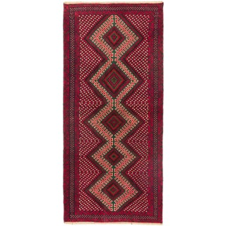 """Hand-Knotted Tribal Afghan Rug - 2'8"""" x 6'0"""""""