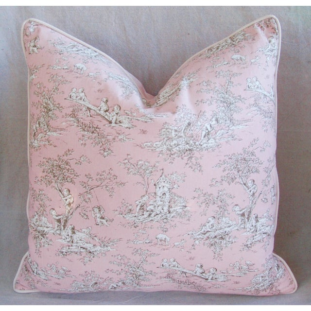 Designer French Pink Toile & Velvet Feather/Down Pillows - Pair - Image 8 of 11