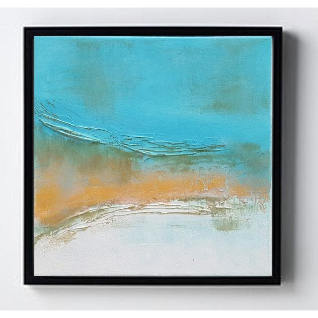 Abstract Modern Textured Metallic Gold & Turquoise Painting on Canvas - Image 3 of 4