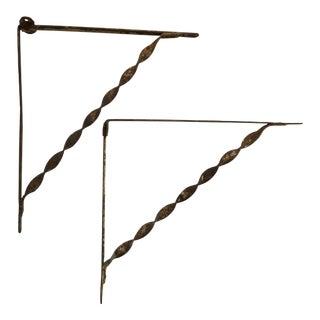 Wrought Iron Shelf Brackets - A Pair
