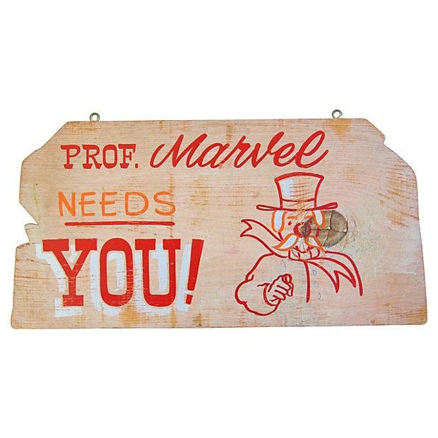 Vintage 1950s Hand-Painted Carnival Sign - Image 1 of 2