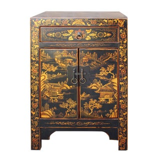 Chinese Black & Golden Scenery End Table / Nightstand