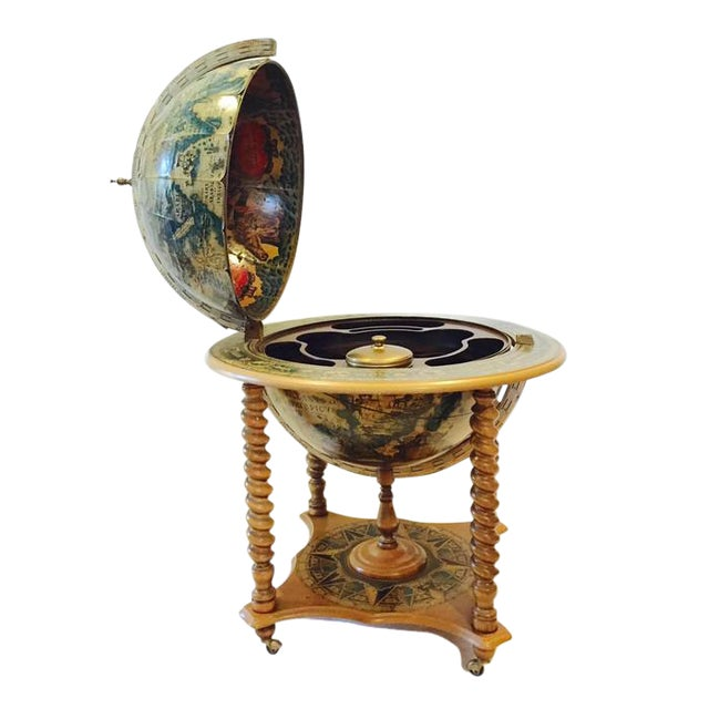 Mid-Century World Globe Bar Cart - Image 1 of 10