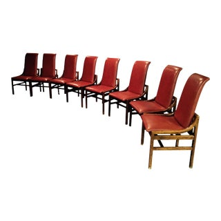 Henredon Solid Walnut & Leather Dining Chairs - Set of 8