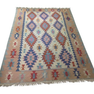 "Large Hand Woven Turkish Kilim Rug - 8'1""x11'4"""