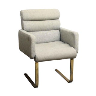 Modern Cream Chair With Two Metal Legs