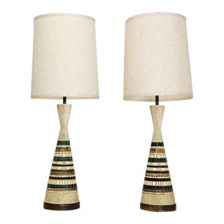 Tall Groovy Chalkware Lamps by f.a.i.p. - A Pair