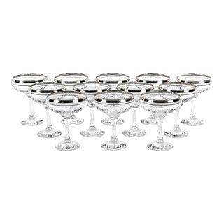 Platinum & Crystal Champagne Coupes - Set of 12