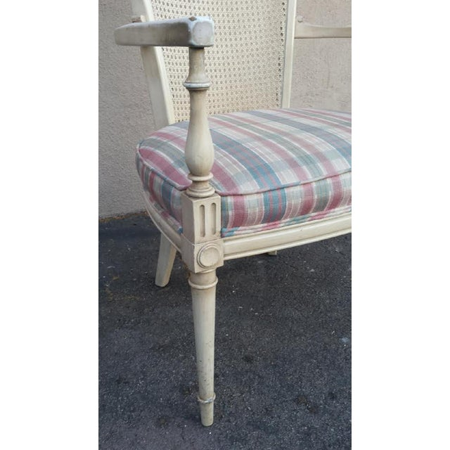 Hollywood Regency Style White Cane Arm Chair - Image 4 of 5