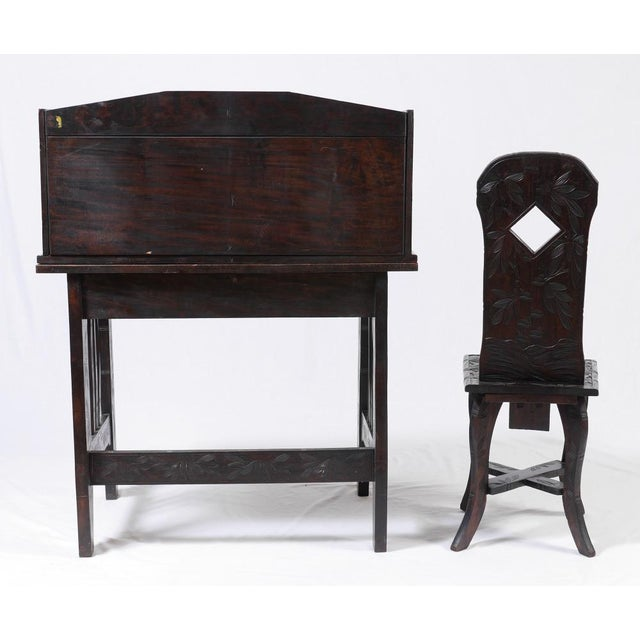 Carved Oriental Ladies Writing Desk & Chair - Image 3 of 6