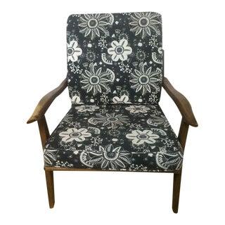 Mid-Century Modern Style Upholstered Walnut Armchair
