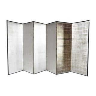 Japanese Silver Screen Panels Set of Six