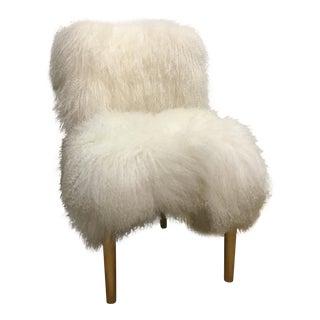 Moss Studios White Mongolian Sheep Hair Upholstered Chair