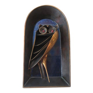 Bolba Copper Owl Sculpture Made in Hungry
