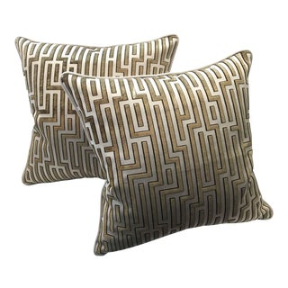 Kravet Couture Raised Velvet Pillows - A Pair