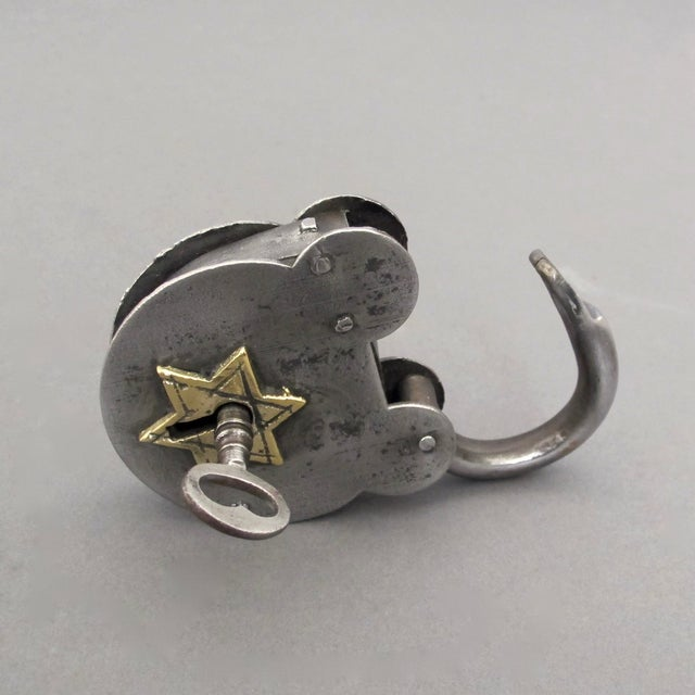 Steel & Brass Antique Padlock From England - Image 4 of 7