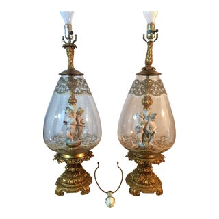 Andrea by Sadek Antique Victorian Cherub Putti Blown Glass Lamps - A Pair