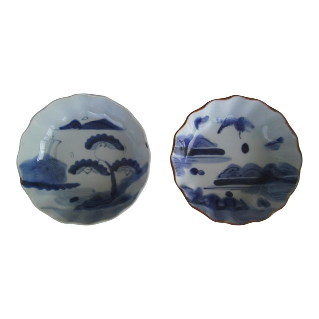 Image of Oriental Blue & White Bowls - A Pair
