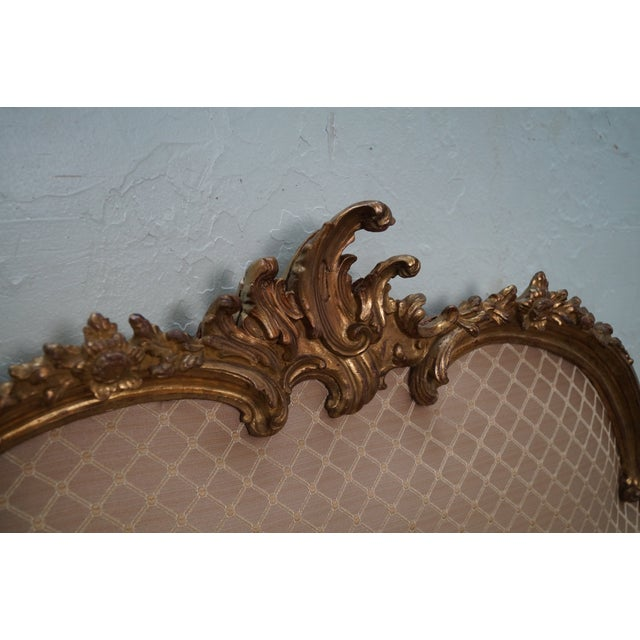 Vintage Italian Gilt Wood Rococo Queen Headboard - Image 4 of 10