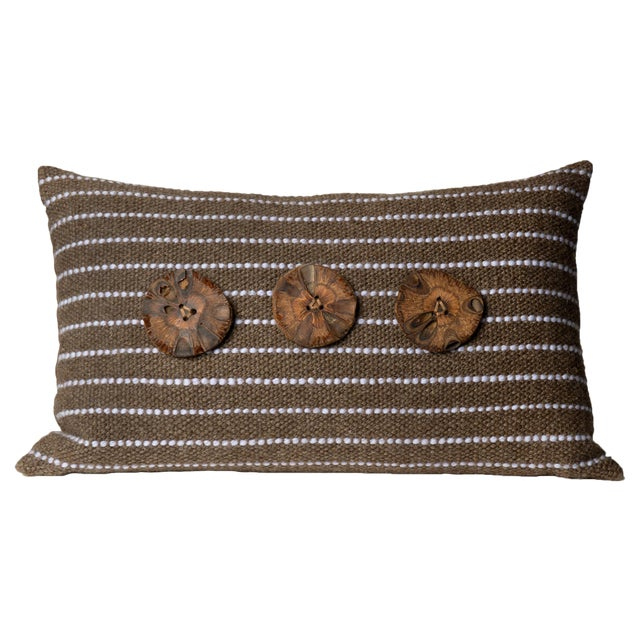 Brown Hand-Woven Pillow - Image 1 of 4