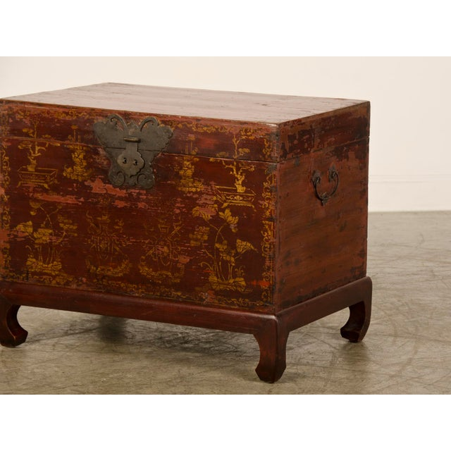 Red Lacquer Antique Chinese Trunk Kuang Hsu Period circa 1875 - Image 6 of 11