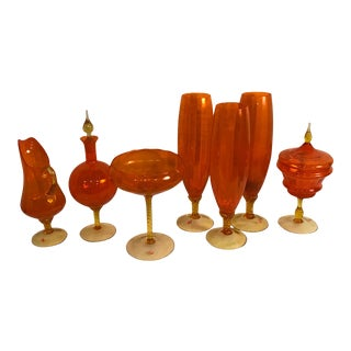 Vintage Italian Empoli Hand-Blown Orange & Clear Glass - Set of 7