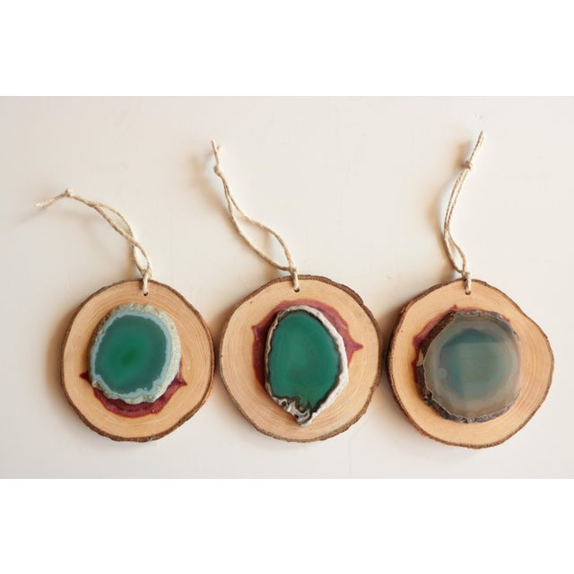 Agate and Cedar Slice Christmas Ornaments - Set of 6 - Image 5 of 8