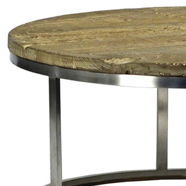 Chrome Coffee Table With Wood Top: Barn Wood & Chrome Coffee Table
