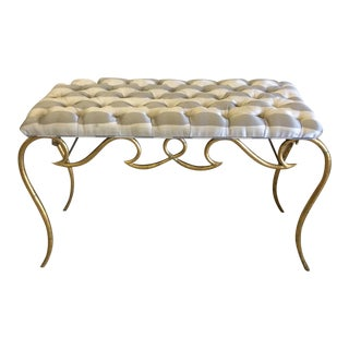 Italian Gold Leaf Iron Upholstered Bench