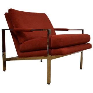 Milo Baughman Style Chrome Lounge Chair