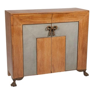 Leather, Oak & Bronze Sideboard after Andre Arbus