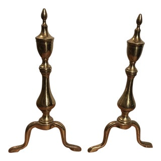 Vintage Puritans Brass Andirons - A Pair