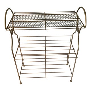 Mid-Century Modern Wire Shelf Stand Industrial