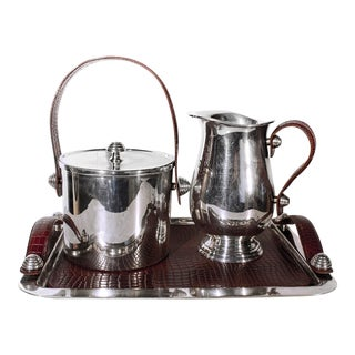 Sheffield Silver & Leather Bar Service Set
