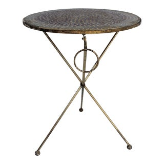 Italian Mosaic Glass Folding Side Table