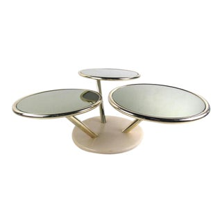 Unique Mid-Century Brass and Glass Swivel Top Coffee Table