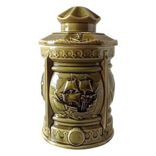 Nautical Ceramic Cookie Jar with Crackle Glaze