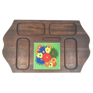 Mid Century Carved Hardwood Tile Tray