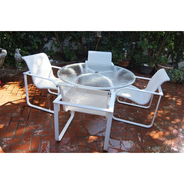 Brown Jordan Outdoor Dining Umbrella Table Set - Image 2 of 5