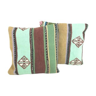 Striped Turkish Kilim Throw Pillows - A Pair