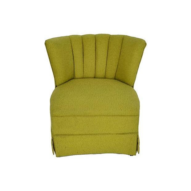 Mid-Century Green Channel Tufted Slipper Chair - Image 2 of 5