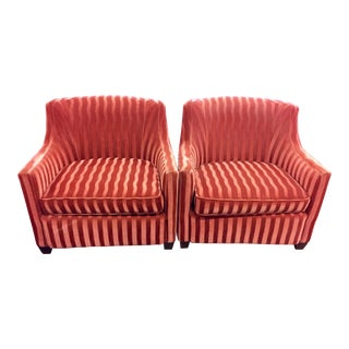 Red Velour 'Candy Stripe' Armchairs - A Pair