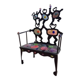 D & K Smith Modern Iron Settee with Inset Art Glass