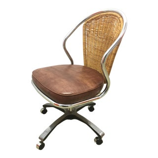 Vintage Daystrom Chrome & Rattan Desk Chair