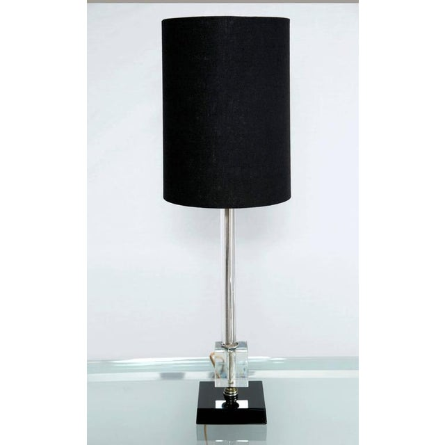 Petite Fluted Glass Task Lamp and Ebony Glass Base - Image 2 of 5