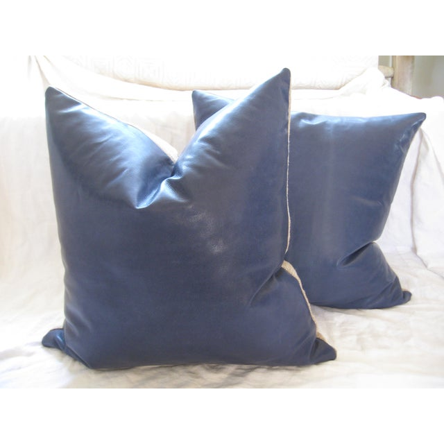 Atlantic Blue Leather Pillows - A Pair - Image 3 of 7